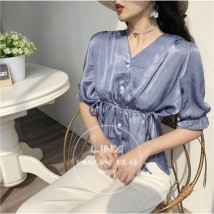 Lace / Chiffon Summer of 2018 White blue Average size elbow sleeve commute Cardigan singleton  easy Regular V-neck Solid color 18-24 years old lady