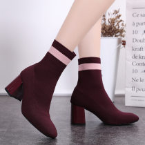 Boots 35 36 37 38 39 Black wine red PU Pedicla.na.ss High heel (5-8cm) Thick heel PU Middle cylinder Square head PU No interior Autumn and winter 2009 Sleeve Korean version rubber Solid color Martin boots PU winter Color matching 3998-3