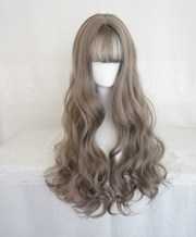 Whole wig Greenwood grey natural black granny grey light brown dark brown High temperature silk Long curly hair Sweet and lovely Fashion girl bangs Other / other Other items