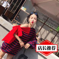 Dress Summer of 2018 Red White Stripe Black Red Stripe Average size Middle-skirt singleton  Long sleeves commute Loose waist stripe other other Others