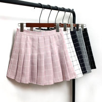 skirt Spring of 2018 S M L White lattice gray lattice black lattice pink lattice Navy lattice Short skirt Versatile Pleated skirt lattice Type A 18-24 years old Other / other