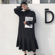 Dress Spring of 2018 black Average size Mid length dress singleton  Long sleeves commute Polo collar Solid color Ruffle Skirt routine 18-24 years old