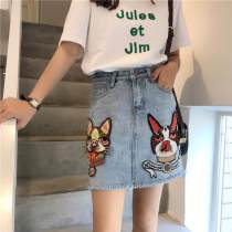 skirt Spring of 2018 S M L wathet Short skirt commute Natural waist A-line skirt Animal design Type A 18-24 years old 81% (inclusive) - 90% (inclusive) brocade Other / other cotton Button Korean version