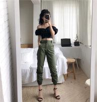 Casual pants ສີດໍາກອງທັບສີຂຽວ S M pants ຕັດ ລຶະເບິ່ງຮ້ອນ 2018 ສູງ waist Harem pants Conventional ປ່າທໍາມະຊາດ Other / other 18-24 ປີ