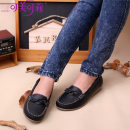 Low top shoes 35 36 37 38 39 40 Kemeikeli Khaki black orange Round head Slope heel Double skin mulching Shallow mouth Low heel (1-3cm) Pig skin Trochanter leisure time Adhesive shoes Solid color TPR (tendon) Doug shoes bow Pig skin daily eight thousand three hundred and thirty-six