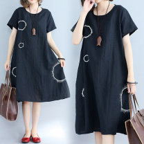Women's large Summer of 2018 black Large L [100-170 kg] Large XL [170-220 kg] Dress singleton  commute easy moderate Socket Short sleeve Solid color Korean version Crew neck Medium length Cotton and hemp Three dimensional cutting routine Other / other Embroidery Medium length