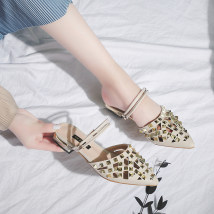Sandals 35 36 37 38 39 Pink red black off white Beibeile PU Baotou Thick heel Middle heel (3-5cm) Summer of 2018 Trochanter Korean version Solid color Adhesive shoes Youth (18-40 years old) rubber daily Back space Rivet thick heel Low Gang Hollow PU PU HZ18B0LJG0421002-C0426 Shaving Zero point five
