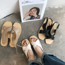 Sandals 35 36 37 38 39 Khaki black apricot Other / other PU Barefoot Flat bottom Flat heel (1cm or less) Summer of 2018 Youth (18-40 years old) daily Low Gang PU PU 5016#