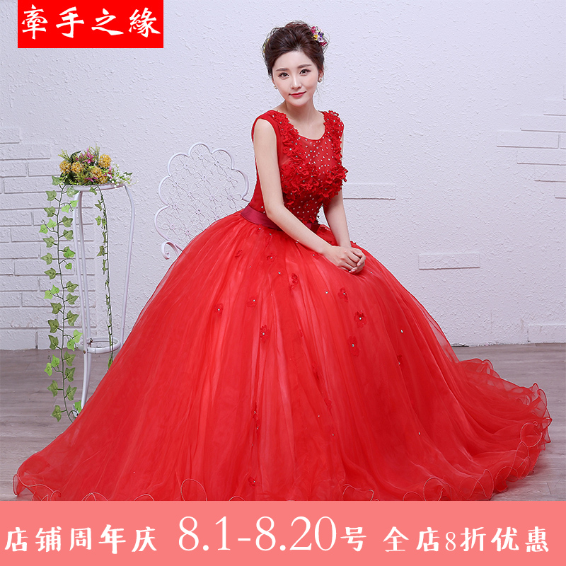 Dress / evening wear Weddings, adulthood parties, company annual meeting, performance date Custom made XXL s ml XL gules Korean version longuette middle-waisted Summer 2016 Fluffy skirt One shoulder Bandage Netting 18-25 years old Ten Sleeveless Nail bead Sequins