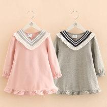 Dress Pink grey Shell element female 90cm 100cm 110cm 120cm 130cm 140cm Other 100% spring and autumn Korean version qz3960 Class B