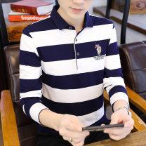 T-shirt Youth fashion Dark blue, coffee, blue grey, light grey routine M 95-110kg, l 110-125kg, XL 125-140kg, 2XL 140-155kg, 3XL 155-170kg, 4XL 170-190kg Biem.l.fdlkk/bien leffin Long sleeves Lapel standard Other leisure autumn BYBL8855 Cotton 95% polyurethane elastic fiber (spandex) 5% middle age