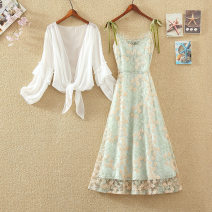 Dress Summer 2021 Green two piece suit, single green skirt S,M,L,XL longuette Two piece set Long sleeves commute One word collar High waist Solid color Socket A-line skirt routine camisole 18-24 years old Type H Korean version Embroidery, pleating, stitching, gauze net Chiffon polyester fiber