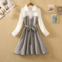 Dress Spring 2020 Grey, pink S,M,L,XL Mid length dress Fake two pieces Long sleeves commute Polo collar High waist Solid color Socket A-line skirt routine 18-24 years old Korean version Bowknot, stitching polyester fiber