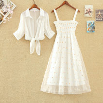 Dress Summer 2020 White shawl + white dress, white shawl + blue dress, white shawl + yellow dress S,M,L,XL Mid length dress Two piece set Short sleeve commute One word collar High waist Decor Socket A-line skirt other camisole 18-24 years old Type A Korean version Embroidery, stitching, mesh