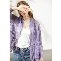 short coat Spring 2020 M, L light purple Long sleeves routine Thin money singleton  easy commute routine Polo collar zipper 30-34 years old Miccbeirn 96% and above Pocket, embroidery JHI11807 silk silk