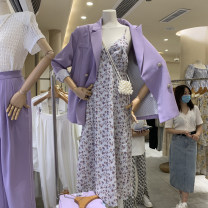 Dress Spring 2021 Purple, apricot S,M,L longuette singleton  Sleeveless commute V-neck High waist Decor Socket other other camisole 18-24 years old Type A Korean version Splicing 51% (inclusive) - 70% (inclusive) other other