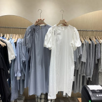 Dress Spring 2021 Black, white, blue, apricot Average size longuette singleton  Short sleeve commute Crew neck Loose waist Solid color Single breasted other puff sleeve Others 18-24 years old Type H Korean version 51% (inclusive) - 70% (inclusive) other other