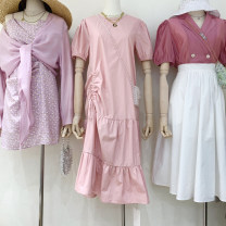 Dress Spring 2021 White, blue, pink Average size Mid length dress singleton  Short sleeve commute Crew neck High waist Solid color Socket Irregular skirt routine Others 18-24 years old Type A Korean version Pleating, stitching 51% (inclusive) - 70% (inclusive) other other