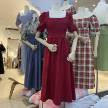 Dress Spring 2021 Black, blue, red Average size longuette singleton  Short sleeve commute square neck High waist Solid color Socket A-line skirt puff sleeve Others 18-24 years old Type A Korean version Splicing 51% (inclusive) - 70% (inclusive) other other