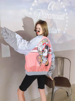short coat Spring 2021 Average size Pink Long sleeves routine routine singleton  easy commute other Crew neck zipper Cartoon animation 25-29 years old 51% (inclusive) - 70% (inclusive) Pocket, zipper, panel, print other