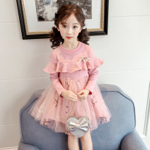 Dress Pink, peacock blue female Curving bear 100cm,110cm,120cm,130cm,140cm,150cm Cotton 95% polyester 5% spring and autumn Korean version Long sleeves other cotton Splicing style Class B Three, four, five, six, seven, eight, nine, ten