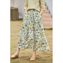 skirt Spring 2021 S,M,L,XL Yellow print Mid length dress commute Natural waist A-line skirt Broken flowers Type A 30-34 years old More than 95% other Forget the city hemp Pocket, print literature
