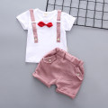 suit Other / other Grey, pink, Navy, grey tie strap suit, brown 73cm,80cm,90cm,100cm,110cm,120cm neutral summer Korean version Short sleeve + pants 2 pieces Thin money No model Socket nothing Solid color cotton children Expression of love Cotton 95% polyester 5%