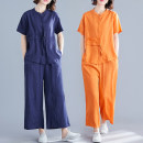 Fashion suit Summer of 2019 M,L,XL,XXL Orange, dark blue Other / other 71% (inclusive) - 80% (inclusive) hemp