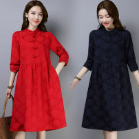 Dress Spring of 2019 Red, Navy M,L,XL,2XL Mid length dress singleton  Long sleeves commute One word collar Socket routine Others Other / other ethnic style 71% (inclusive) - 80% (inclusive) other cotton