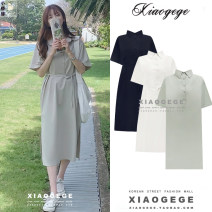 Dress Summer 2020 Apricot, Navy, khaki S,M,L,XL Mid length dress singleton  Short sleeve commute Polo collar High waist Solid color Single breasted A-line skirt other Others 18-24 years old Type A Korean version Lace up, button 3178#