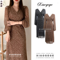 Dress Spring 2021 Brown, black S,M,L,XL Mid length dress singleton  Long sleeves commute V-neck High waist Decor zipper A-line skirt puff sleeve 18-24 years old Type A Korean version Ruffles, lace up, print