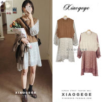Fashion suit Autumn of 2019 S. M, l, XL, one size fits all Brown vest, apricot vest, red dress, apricot dress 18-25 years old Other / other acrylic fibres
