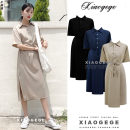 Dress Summer 2020 Apricot, blue, black S,M,L,XL Mid length dress singleton  Short sleeve commute Polo collar High waist Solid color Single breasted A-line skirt routine 18-24 years old Type A Other / other Korean version Lace up, button