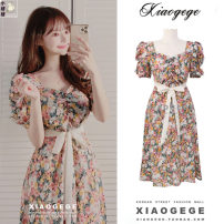 Dress Summer 2020 Picture color S,M,L Mid length dress singleton  Short sleeve commute V-neck High waist Decor zipper A-line skirt puff sleeve Others 18-24 years old Type A Other / other Korean version
