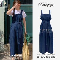 Dress Summer 2021 Picture color S,M,L,XL Mid length dress singleton  Sleeveless Sweet square neck Loose waist Solid color Socket Big swing other Others 18-24 years old Type H Bowknot, lace, stitching, bandage 31% (inclusive) - 50% (inclusive) Denim other college