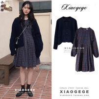 Dress Autumn 2020 Navy, coffee, dark blue S. M, l, XL, one size fits all Middle-skirt Two piece set Long sleeves commute Crew neck High waist lattice Socket A-line skirt puff sleeve 18-24 years old Type A Lace up, button