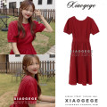 Dress Summer 2020 gules S,M,L,XL Mid length dress singleton  Short sleeve commute Crew neck High waist Solid color zipper A-line skirt puff sleeve Others 18-24 years old Type A Korean version Lace up