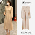 Dress Spring 2021 Apricot, grey blue S,M,L,XL Mid length dress singleton  Long sleeves commute V-neck High waist Solid color Socket Big swing puff sleeve Others 25-29 years old Type A lady Bowknot, fold, lace up, stitching, button, zipper Chiffon other