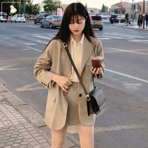 Fashion suit Autumn 2020 S,M,L,XL Grey suit, khaki suit, grey skirt, Khaki Skirt 18-25 years old 3218+6188# polyester fiber