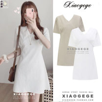 Dress Summer 2020 Apricot, white S,M,L,XL Short skirt singleton  Short sleeve commute V-neck High waist Solid color zipper A-line skirt routine 18-24 years old Type A Other / other Korean version Lace up