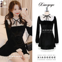Dress Winter of 2019 black S,M,L,XL Middle-skirt singleton  Long sleeves commute Lotus leaf collar High waist Solid color zipper Ruffle Skirt Lotus leaf sleeve Others 18-24 years old Type A Other / other Korean version