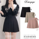 skirt Summer 2020 S,M,L,XL Pink, black, khaki Short skirt commute High waist Pleated skirt Solid color Type A 18-24 years old 6163# Bows, ruffles, folds, lace Korean version