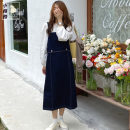 Dress Autumn 2020 White, blue, black, blue strap skirt S,M,L longuette singleton  Sleeveless commute High waist Solid color Socket A-line skirt straps 18-24 years old Type A Other / other Korean version straps nine thousand one hundred and ten #