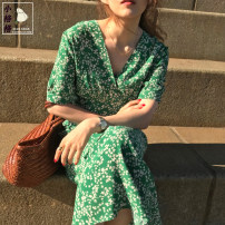 Dress Summer 2020 green S,M,L,XL Mid length dress singleton  Short sleeve commute V-neck High waist Decor Socket A-line skirt routine 18-24 years old Type A Other / other Korean version Ruffle, print Chiffon
