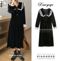 Dress Winter 2020 black S,M,L longuette singleton  Long sleeves commute Doll Collar High waist Solid color Single breasted A-line skirt routine Others 18-24 years old Type A Korean version Button 9163#