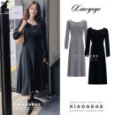 Dress Autumn 2020 Blue, black S,M,L,XL Mid length dress singleton  Long sleeves commute square neck High waist Solid color zipper A-line skirt Others 18-24 years old Type A Korean version Lace up two thousand one hundred and ninety-one #