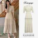 Dress Summer 2021 Picture color S,M,L,XL longuette singleton  elbow sleeve commute V-neck High waist Decor A button Cake skirt Lotus leaf sleeve Others 18-24 years old Type A Korean version Ruffles, pleats, pleats, Auricularia auricula, stitching, printing 81% (inclusive) - 90% (inclusive) Chiffon