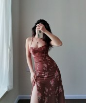Dress Spring 2021 Broken brown flowers S,M,L longuette singleton  Sleeveless commute V-neck middle-waisted Decor Socket A-line skirt routine camisole 25-29 years old Type A printing polyester fiber