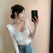 Vest sling Summer 2021 White, black Average size singleton  have cash less than that is registered in the accounts Self cultivation Versatile straps Solid color 18-24 years old 30% and below Lace a3.6 Stitching, buttons, lace