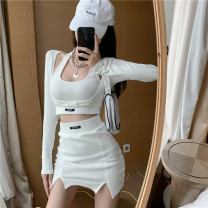 Dress Spring 2021 Grey suspender + skirt, white suspender + skirt, black suspender + skirt, grey coat, black coat, white coat Average size Short skirt Three piece set Long sleeves commute Crew neck High waist A-line skirt other Others 18-24 years old Type A Korean version cotton